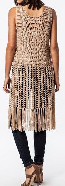 SLEEVELESS LONG CROCHET FRINGED VEST