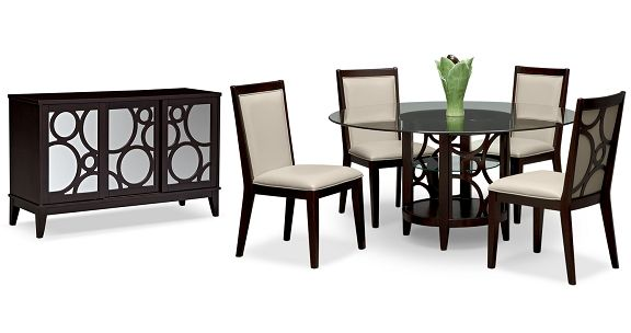 American Signature Furniture Luna Parchment II Dining Room Collection 60 Qu