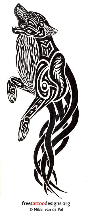 Celtic And Tribal Wolf Tattoo Design Sample