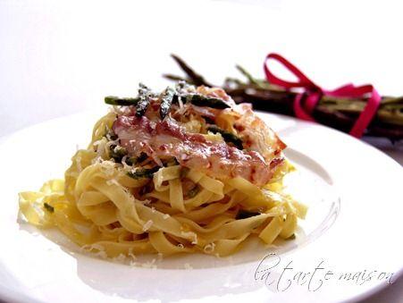 Tagliatelle con asparagi selvatici e pancetta croccante | La tarte maison