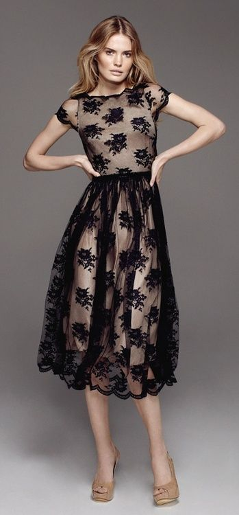 Black lace sheer mid formal dress ♥✤ | Keep the Glamour | BeStayBeautiful