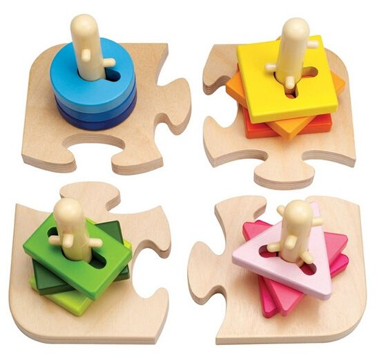 Early Learning Center ELC Peg Puzzle Learn To Turn The Shapes And Slot Them Onto The Pegs Kids Children Wooden Toy