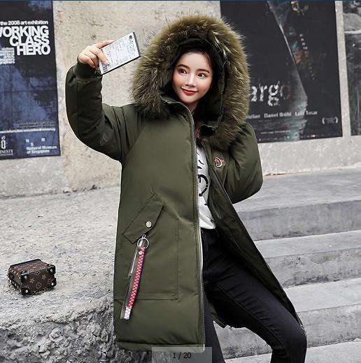 Female Jacket Large Fur Winter Jacket Women 2018 Warm Thicken Hood Winter Coat Women's Cotton Down Parka Plus Size Army green L
