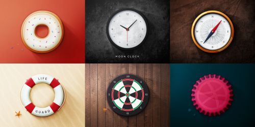 Cool Realistic Round Object Web Icons PSD Set. Realistic Round Object Web Icons PSD Set. 6 Very realistic round icons - a clock compass donut dart board life preserver and a dribbble bottle cap. Enjoy!  #board #bottle #cap #circle #clean #clock #compass #creative #dart #design #detailed #donut #downloadpsd #dribbble #elements #free #freepsd #fresh #HD #hi-res #icon #icons #life #modern #new #objects #original #pack #preserver #psd #Quality #realistic #resources #round #set #stylish…