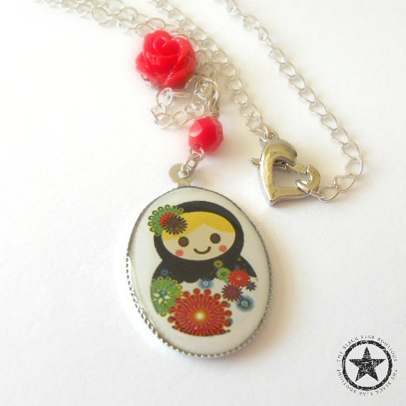 Matryoshka Doll Charm Necklace in Silver by theblackstarboutique, $22 ...