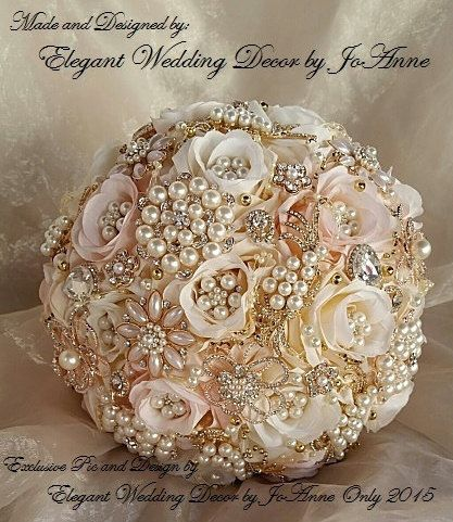 BEAUTIFUL 9 BLUSH PINK /Off White BOUQUET with GOLD & ROSE GOLD Brooches & Accents- $520.00 Measures 27 in circumference and 16 across the