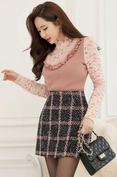 StyleOnme_Check Patterned Tweed Mini Skirt #check #mini #skirt #tweed #feminine #koreanfashion #kstyle #kfashion #seoul #dailylook