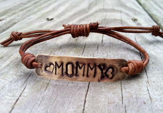 Mommy Bracelet Leather Hand Stamped