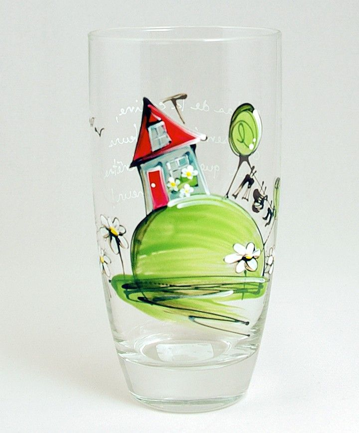 Verre à eau (510 ml) : : Maison   *** Produit peint à la main.