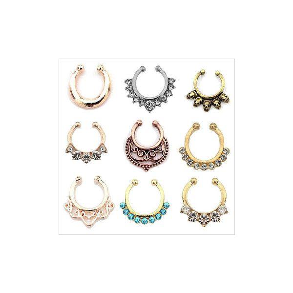 1pcs Punk Nose Piercing Rock Skull Head Rhinestone Flower Body Jewelry... ($3.14) ❤ liked on Polyvore featuring jewelry, piercings, white, body jewellery, rhinestone skull jewelry, flower jewelry, body jewelry and skull jewelry