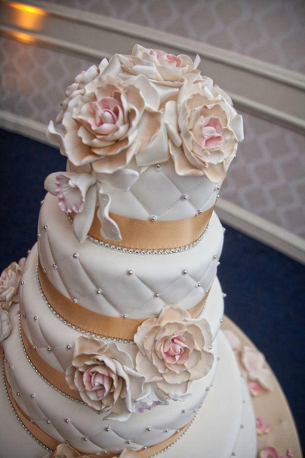 Romantic White Kosher Wedding Cake With Crystals Sugar Flowers