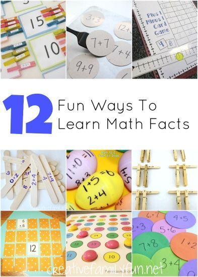 Throw out the flash cards and play one of these fun games instead! 12 Fun Ways to Learn Math Facts.