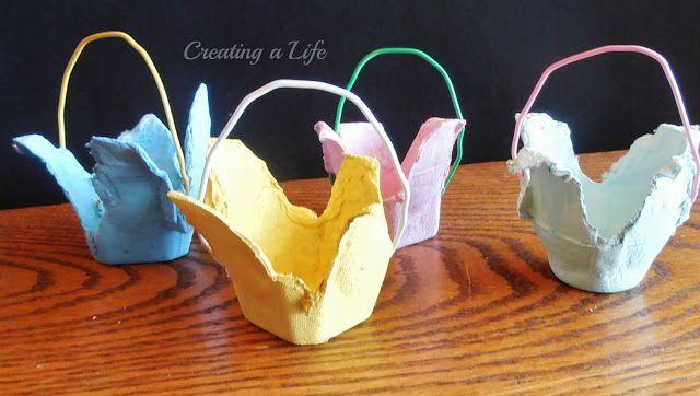 Creating A Life: Spring! Egg Carton Mini Baskets