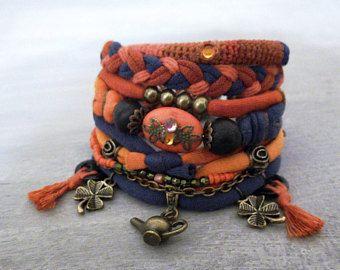 Boho armband, oranje Marine Boho Armband Set, Assemblage armband vrije geest Indie Jewelry, theepot armband klaver charme