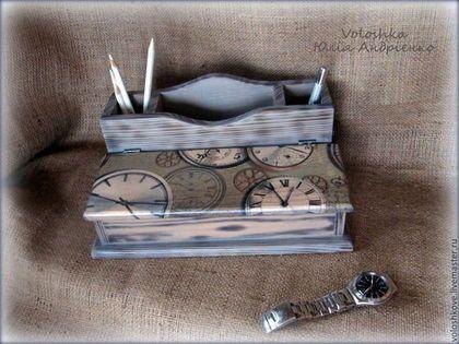 Письменные приборы ручной работы. Ярмарка Мастеров - ручная работа Органайзер для канцелярии настольный Делу - время. Handmade.