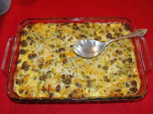 Sausage and Potato Casserole - This is a keeper recipe. Breakfast for dinner...So simple, delicious and easy to change up with whatever veggies you want and ground meat or meat substitute.  We cook ours or an hour though so it isn't runny.