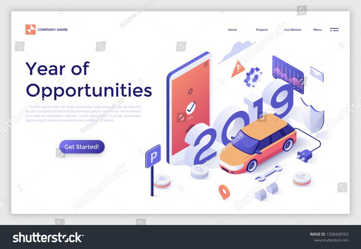 Landing page with 2019 number, electric automobile, giant smartphone and place for text. Year of opportunities in car monitoring system, remote contro…