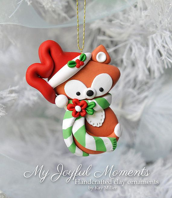 Handcrafted Polymer Clay Fox Ornament by MyJoyfulMoments on Etsy