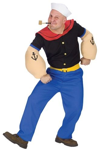 Now you can become one of the most popular comic strip characters of all time when you wear this Adult Popeye Costume.