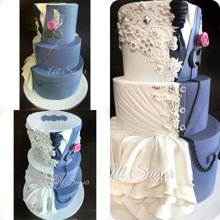 Custom Wedding Cake Dress Inspired Dual Design Superhero Batman