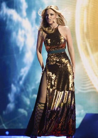 Edurne Eurovision Spain gold dress