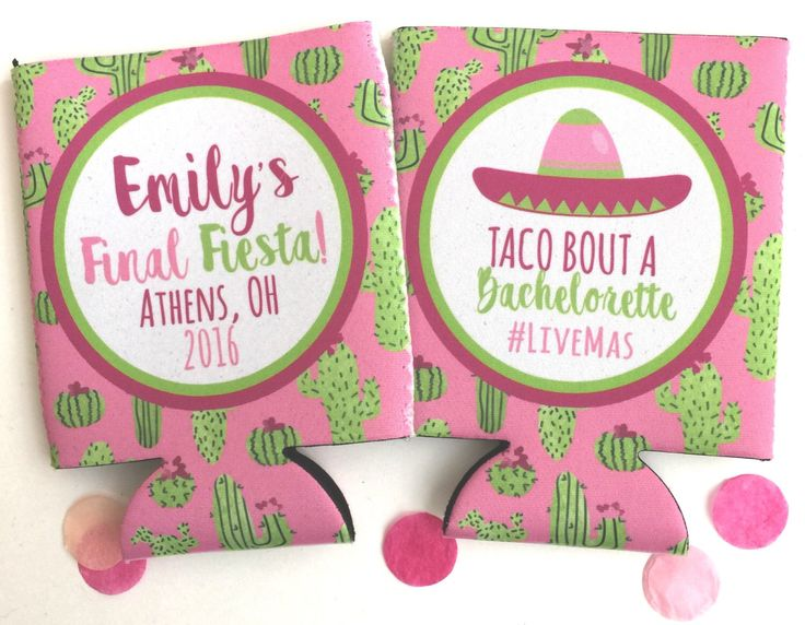 Cactus Party Huggers. Final Fiesta Party Coolies. Monogrammed Mexican Party Favors. Fiesta Birthday or Bachelorette Party Favors! by BrantPointPrep on Etsy https://www.etsy.com/listing/490279827/cactus-party-huggers-final-fiesta-party