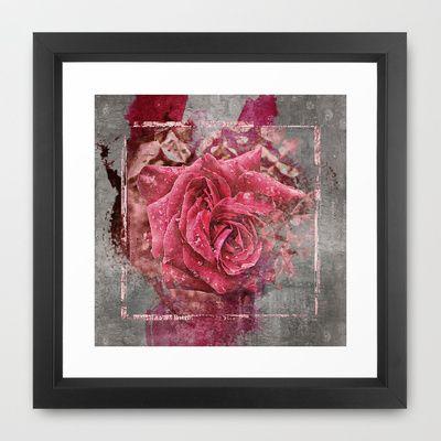 Pink Rose Framed Art Print by AngelEowyn - $34.00