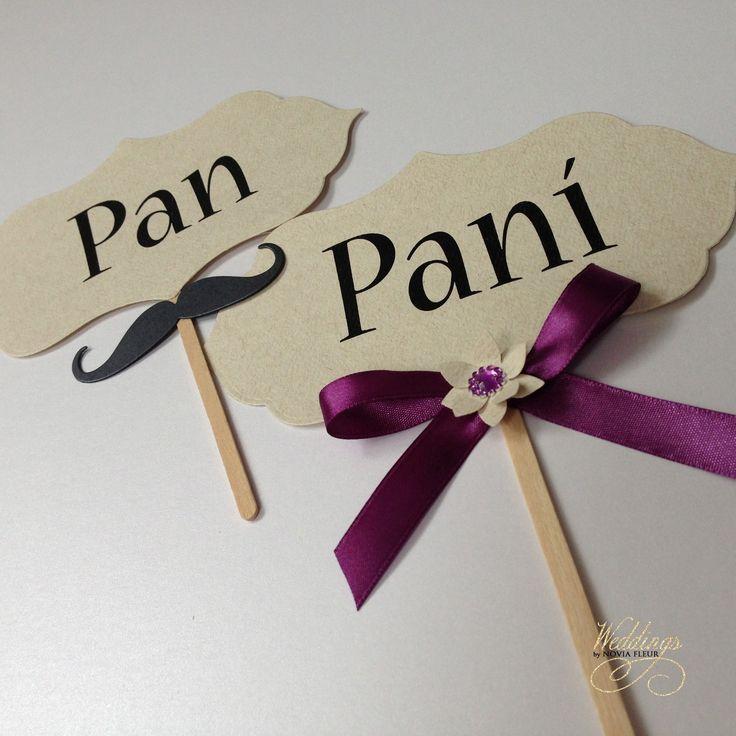 """Rekvizity na focení """"Pan&Paní"""" Vyšperkujte své svatební fotografie a pořiďte si na svatební focení cedulky s nápisy. :) Tyto cedulky jsou zhotoveny z kartonu o vysoké gramáži a jsou doplněny textem """"Pan"""" a """"Paní"""" Tyto cedulky můžu zhotovit i bez držátka, například na pověšení na židličku anebo na svatební stůl."""