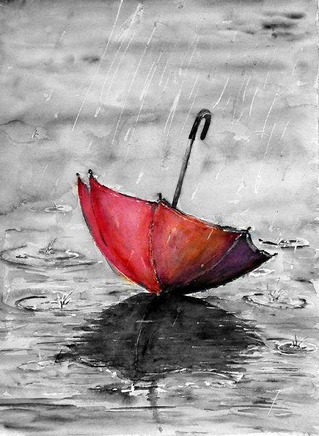 umbrella red on the floor