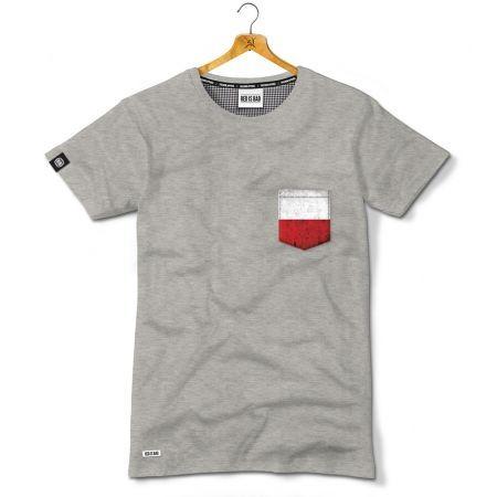 Koszulka z naszywaną kieszonką z motywem polskiej flagi - Kolekcja Dyskretna