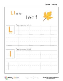 preschool worksheet for tracing letter l l is for leaf tracing and writing practice for more. Black Bedroom Furniture Sets. Home Design Ideas