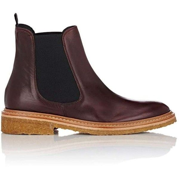 Barneys New York Women's Leather Chelsea Boots ($199) ❤ liked on Polyvore featuring shoes, boots, ankle booties, burgundy, pull on leather boots, crepe sole chelsea boots, burgundy chelsea boots, low-heel boots and low heel ankle booties