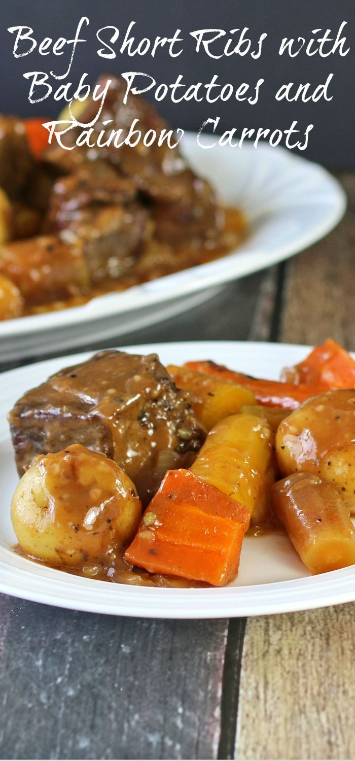 Beef Short Ribs with Baby Potatoes and Rainbow Carrots: