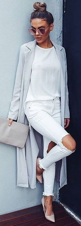 #summer #latest #trends |  Grey Robe Duster Coat + All White