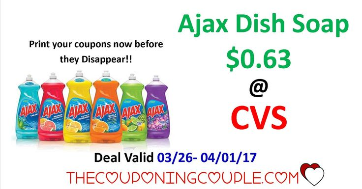 Here is a super early deal post for Ajax Dish Soap ONLY $0.63 each @ CVS Starting 3/26/17. Make sure you prepare for this deal now and print your coupons before they are gone!! Do you like seeing the deals this early??? Let us know if you would like to see more super early deal posts by leaving us a comment below.  Click the link below to get all of the details ► http://www.thecouponingcouple.com/hot-deal-ajax-dish-soap/ #Coupons #Couponing #CouponCommunity  Visit us