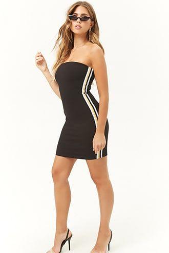12b846d3b73 Ribbed Side-Striped Mini Tube Dress