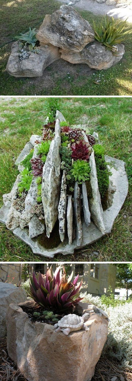 24 ideas creativas jardín del envase |  Utilizar rocas como plantadores!