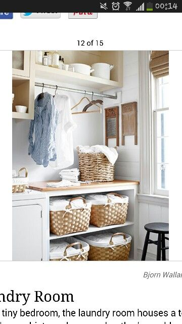 Hangers & Baskets in utility room
