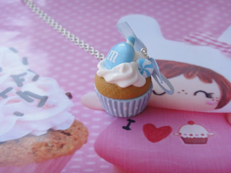 collier cupcake kawaii bonbons en fimo : Collier par maemele