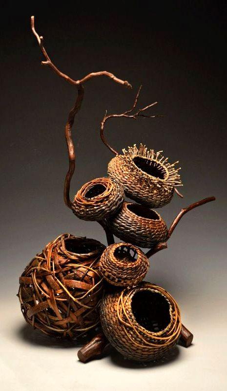 "Matt Tommey, Artist, Sculptural collection including 5 bark and vine nested in laurel branch 16""x28"""