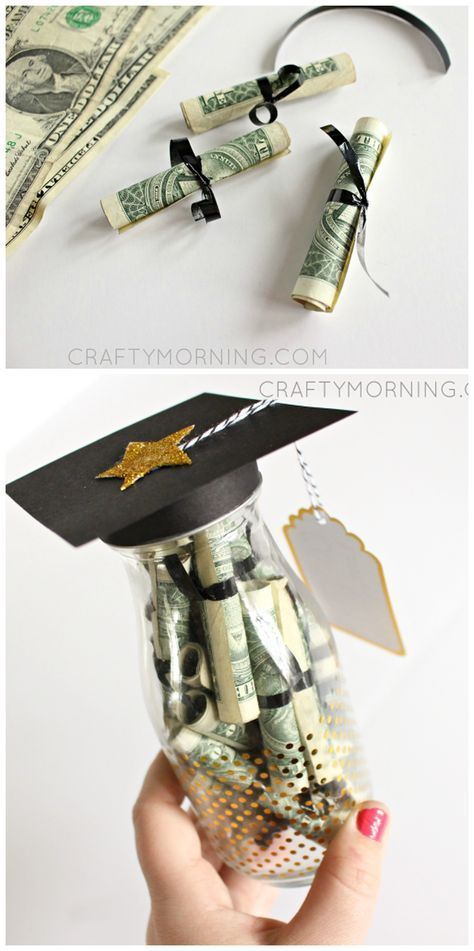 Graduation Glass Bottle Gift Idea (Diploma Money) - Love the rolled up dollar bills and the top looking like a graduation cap!