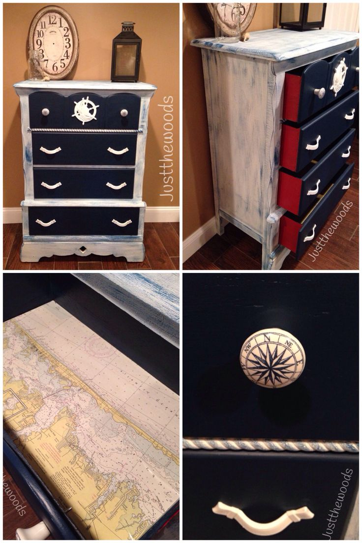 Nautical dresser. Hand painted in white with a touch of navy blue. Drawers are solid navy fronts and red. Drawers have all been lined with vintage maritime charts. Hardware for the top drawer are nautical compasses while the lower drawers are all the original pulls hand painted white.  You can get this look with Razorback red and Sailor - https://just-the-woods.myshopify.com/products/sailor