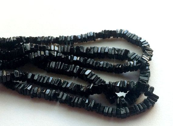 Black Spinel Square Heishi Cut Beads Black Spinel by gemsforjewels