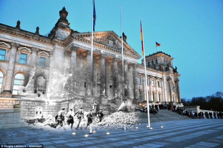Merge: Red Army storms Reichstag, Berlin, in 1945, as tourists queue to enter the historic building    Read more: http://www.dailymail.co.uk/news/article-2116708/Russian-troops-storm-Reichstag-Extraordinary-images-merge-images-European-city-streets-war-peace.html#ixzz1pZxDSMxD  by Sergey Larenkov
