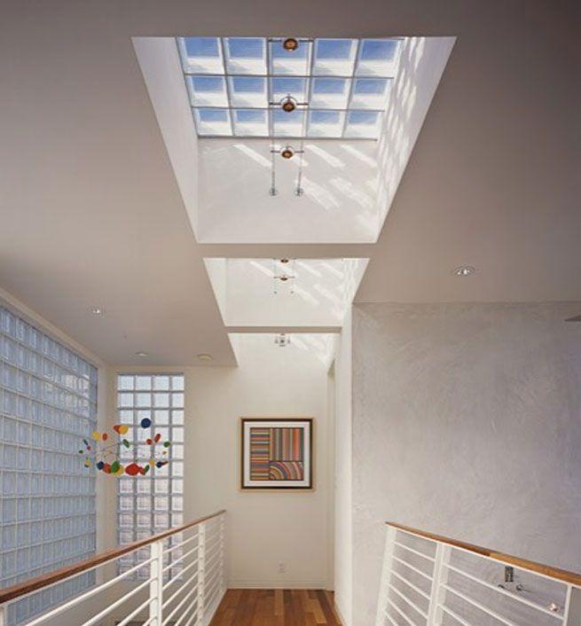 Vía: Feldman Architecture: Future Houses, Glass Blocks, Feldman Architecture, Glasses Blocks, Houses Ideas, Sky Lights, Glassblock, Blocks Skylight, Modern Hall