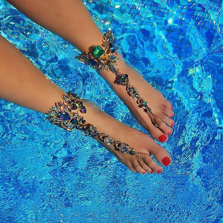 Ankle Bracelet For Beach Vacation Sandals Sexy Leg Chain Female Crystal Anklet Foot Jewelry Pie Leg Crystal Anklet3194