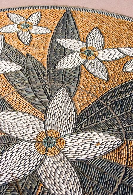 Gorgeous modern floral pebble mosaic by John Botica