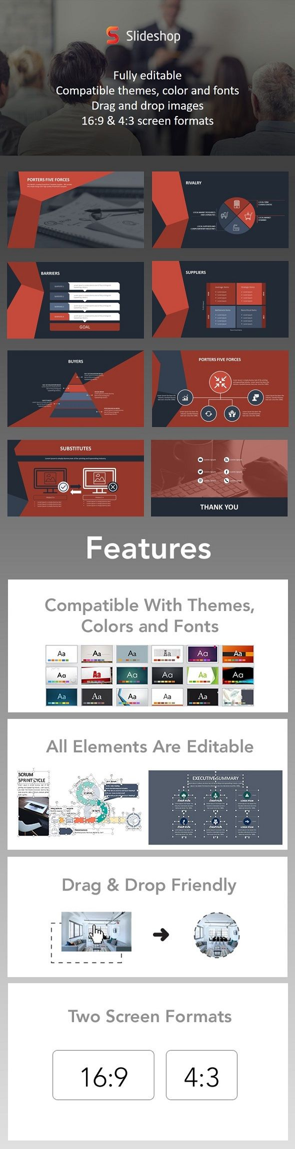 Porters 5 Forces Animation Red - PowerPoint Templates Presentation Templates