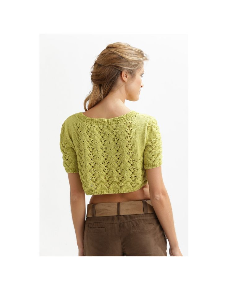 Lacy Summer Crop Top Free Knitting Pattern Download