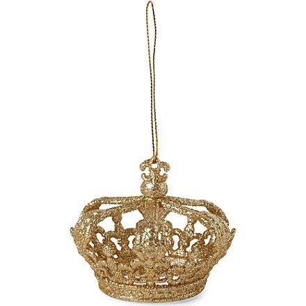 Gisela graham glitter crown christmas tree decoration for Christmas crown decoration